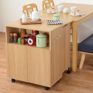 代金引換不可 キャスター付き キッチンワゴン 木製 片バタワゴン バタフライ テーブル 補助テーブル キッチン 送料無料|outlet-f