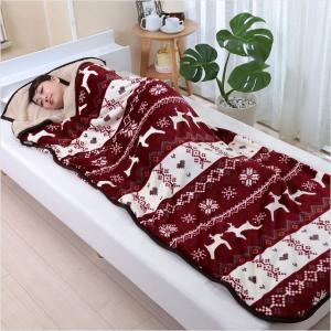 あったか 毛布 寝袋 ブランケット 寝袋ブランケット 寝袋毛布 シープ調 ノルディック柄 78cm×210cm ワイン ネイビー 2色組|outlet-f