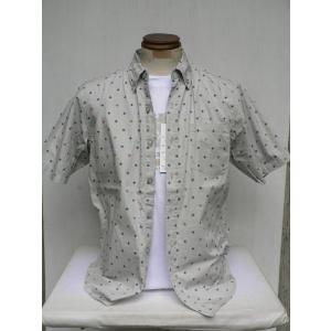 和柄Tシャツ+小紋柄ボタンダウンシャツ2点セット(ライトグレー×白)|outlet-kimura