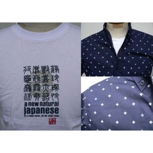 和柄Tシャツ+小紋柄ボタンダウンシャツ2点セット(紺×白)|outlet-kimura
