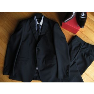 スタイリッシュスリム 2ボタンスーツ ブラック 春夏用 #A021602|outlet-kimura