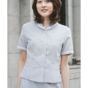 半袖 4ボタン ジャケット ( 事務服 ) New Sweet Tweed グレーカラー|outlet-kimura