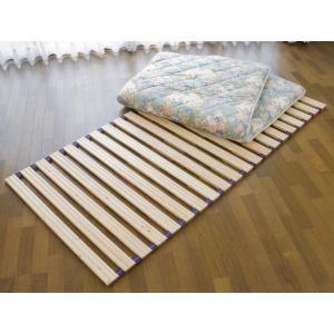 国産ひのきすのこロールベッド セミダブル120cm幅 ベルト付き 日本製|outlet-woodgoods