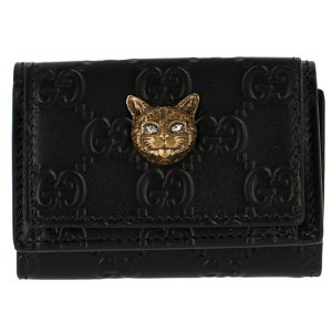 【訳あり】グッチ レディース 三つ折り財布 ミニ財布 キャットモチーフ LINEA CAT ブラック548065 0G6FT 1081|outleta
