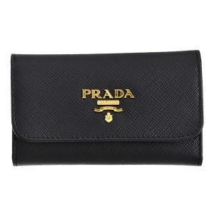 【訳あり】プラダ PRADA キーケース 型押しカーフスキン 6連キーケース ブラック系 1PG222 QWA 002|outleta