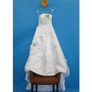 ウェディングドレス ベアトップ 大花  ホワイト Aライン 9号 11号 dress-d-17|outletconveni