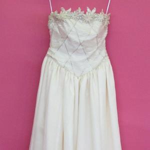 ウェディングドレス ベアトップ  ビーズ・花刺繍 オーガンジー アイボリー 7号 9号 11号 13号 dress-d-27|outletconveni