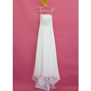 ウェディングドレス ベアトップ  オーガンジー シンプル  ホワイト 9号 11号 dress-d-31|outletconveni