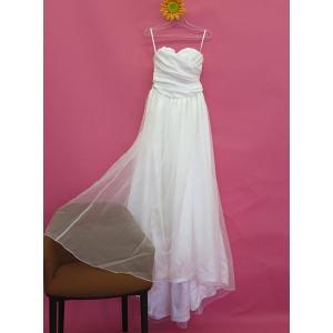 ウェディングドレス ベアトップ  ドレープ オーガンジー シンプル  ホワイト 7号 11号 13号 dress-d-33|outletconveni