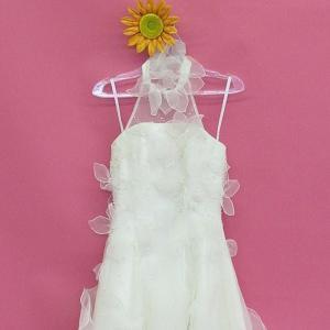 ウェディングドレス チョーカー ベアトップ  オーガンジー小花 フリル  7号 11号 dress-d-39|outletconveni