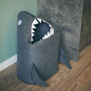 【新品/取寄品/代引不可】EN FANCE ランドリーボックス(サメ)ダークグレー EF-SR15DG 収納 洗濯カゴ【北海道・沖縄・離島配送不可】|outletplaza