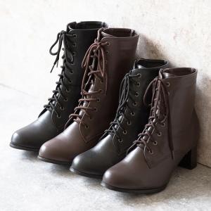 ブーツ レースアップブーツ ミドル ショート 履きやすい 脱ぎやすい 卒業式 袴 黒 茶 白 送料無...