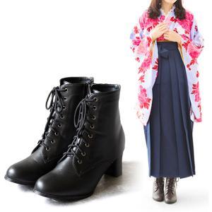ブーツ 卒業式 袴ブーツ レディース レースアップ ショートブーツ サイドジップ 太ヒール 紐 送料...