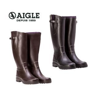AIGLE(エーグル)AIGLENTINE エーグランティーヌ [日本正規品] ZZF8587 レディース ラバーブーツ レインブーツ 長靴 ブラック ブラウン|outspot