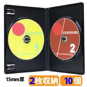 DVDケース トールケース 2枚収納 ブラック 15mm厚Mロック見開き 10個|ovalmultimedia
