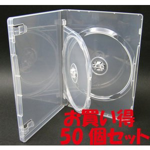 DVDケース トールケース 2枚収納 スーパークリア 15mm厚Mロックフリップタイプ50個|ovalmultimedia