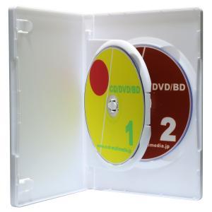 DVDケース トールケース 2枚収納 スーパーホワイト 15mm厚Mロックフリップタイプ1個|ovalmultimedia
