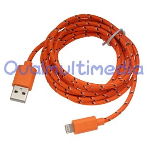 やさしい手触りのライトニング互換ケーブル2mオレンジ ovalmultimedia