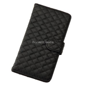 iPhone6Plus用キルティングケース 横 ブラック ovalmultimedia