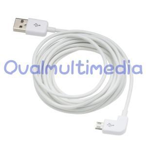 L字で使いやすいmicroUSBケーブル ホワイト3m|ovalmultimedia
