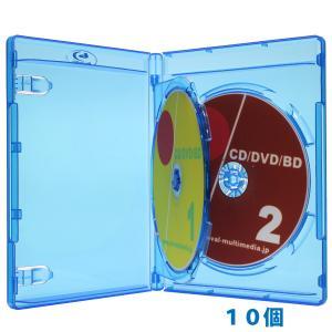 14.5mm厚に2枚収納 便利なフリップタイプ 2枚収納ブルーレイディスクケース ブルー10個 G|ovalmultimedia