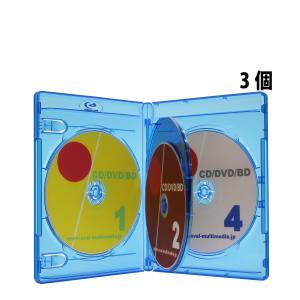 ブルーレイ ケース 4枚収納 クリアブルー 3個 14.5mm厚Blu-rayDiscケース4枚収納 フリップタイプ|ovalmultimedia