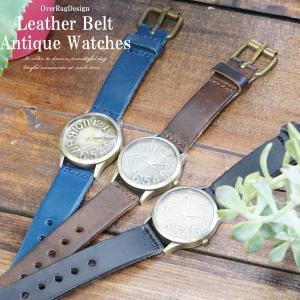 腕時計 メンズ 50代  40代 おしゃれ カジュアルコーデに最適 レザーベルトアンティークウォッチ カジュアル時計 メンズ時計  ブレスレット 革 ブレスレット|overrag
