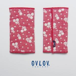 6重ガーゼ 抱っこひもベルトカバー 日本製 綿 スモールチェリーbc4021|ovlov