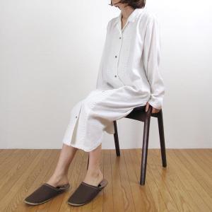 ダブルガーゼ 手縫いステッチ スリーパー パジャマ ネグリジェ ボタン前開き|ovlov