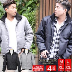 フェイクウール 中綿 防寒 ジャケット アウター メンズ ブラック グレー 黒 大きいサイズ M L XL XXL リアルコンテンツ REALCONTENTS|owl