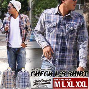 メンズ チェックシャツ ウエスタン レッド ネイビー トップス カジュアルシャツ REALCONTENTS リアルコンテンツ M L XL XXL 大きいサイズ|owl