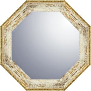ヴィンテージ八角ミラー19.5cm ホワイトゴールド 鏡 VM-02001 引越し祝い 新築祝い|owlsalcove