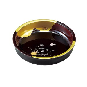 金箔 盛絵うさぎ 溜塗 7.0菓子鉢 23007 owlsalcove
