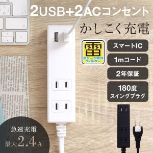 OAタップ スマートIC搭載 USBポート付き 急速充電 2.4A 出力対応 コンセント 電源タップ 1m 2年保証 宅C owltech