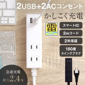 OAタップ スマートIC搭載 急速充電2.4A出力対応 USBポート付き 2m USB 宅C owltech