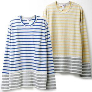 コムデギャルソン メンズ長袖Tシャツ w24930 COMME DES GARCONS SHIRT LS TEE ロンT ボーダー BLUE×GREY×WHITE YELLOW×GREY×WHITE|oxeselect
