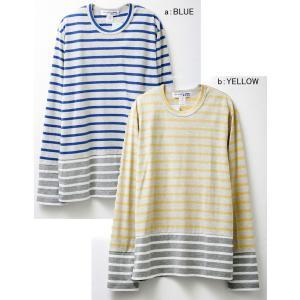 コムデギャルソン メンズ長袖Tシャツ w24930 COMME DES GARCONS SHIRT LS TEE ロンT ボーダー BLUE×GREY×WHITE YELLOW×GREY×WHITE|oxeselect|02