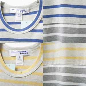 コムデギャルソン メンズ長袖Tシャツ w24930 COMME DES GARCONS SHIRT LS TEE ロンT ボーダー BLUE×GREY×WHITE YELLOW×GREY×WHITE|oxeselect|03