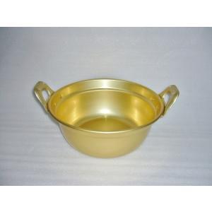 レトロな鍋 昔懐かしい 黄金色 平手段付鍋 前川金属 27cm|ozawa-shoten