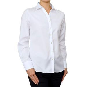 レディース シャツ ビジネス ワイシャツ ブラウス 長袖 白 ワイドカラー 形態安定 綿100% プレミアムコットン 日本製 ナチュラルフィット|ozie