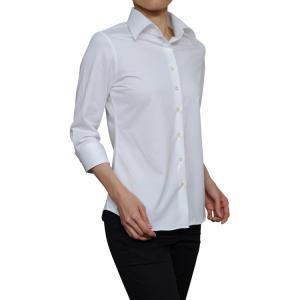 レディース シャツ ビジネス ワイシャツ ブラウス ビズポロ ニット 七分袖 白 ワイド クールマックス イージーケア クールビズ 日本製 ナチュラルフィット|ozie