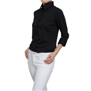 レディース シャツ ビジネス ワイシャツ ブラウス ビズポロ ニット 七分袖 黒 ワイド イージーケア クールビズ 日本製 UVカット ナチュラルフィット|ozie