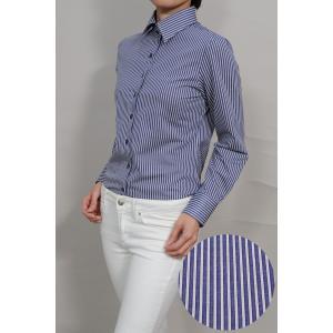 レディース シャツ ビジネス ワイシャツ ブラウス ビズポロ ニット 長袖 ワイド イージーケア ナチュラルフィット 大きいサイズ ネイビー 紺 おしゃれ 日本製|ozie