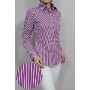 レディース シャツ ビジネス ワイシャツ ブラウス ビズポロ ニット 長袖 ワイド イージーケア ナチュラルフィット 大きいサイズ パープル 紫 おしゃれ 日本製|ozie