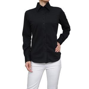 レディース シャツ ビジネス ワイシャツ ブラウス ビズポロ ニット 長袖 ワイド イージーケア ナチュラルフィット UVカット ブラック 黒 おしゃれ 日本製|ozie