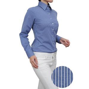 レディース シャツ ビジネス ワイシャツ ブラウス ビズポロ ニット 長袖 ワイド イージーケア ナチュラルフィット  ブルー 青 おしゃれ 日本製|ozie