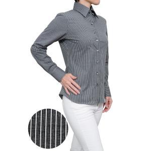 レディース シャツ ビジネス ワイシャツ ブラウス ビズポロ ニット 長袖 ワイド イージーケア ナチュラルフィット  ブラック 黒 おしゃれ 日本製|ozie