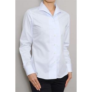 レディース シャツ ビジネス ワイシャツ ブラウス 長袖 イタリアンカラー 綿100% 100番手 プレミアムコットン イージーケア 日本製 ナチュラルフィット トップス|ozie