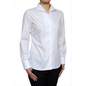 レディース シャツ ビジネス ワイシャツ ブラウス長袖 白 イタリアンカラー 綿100% 120番手 プレミアムコットン イージーケア 日本製 ナチュラルフィット OL|ozie