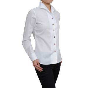 レディースシャツブラウス レディースワイシャツ レディース シャツビジネス 形態安定 長袖 白シャツ イタリアンカラー 日本製 トップス 3L 大きいサイズ ozie